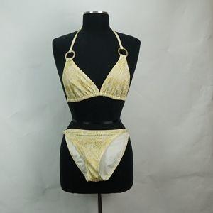 Victoria's Secret Gold Glitter Zebra Print Bikini